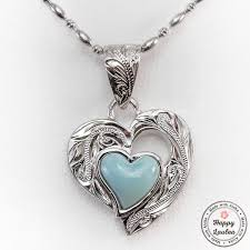 necklace stone setting images 925 sterling silver heart motif pendant with larimar stone setting jpg