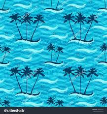 seamless pattern tropic island palm trees stock vector 588584108