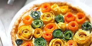 legumes cuisine tarte multicolore aux fleurs de légumes recettes femme actuelle