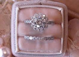 wedding set vintage inspired diamond halo wedding set filigree engagement