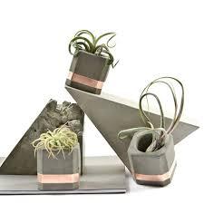 concrete copper cube planter set of 3 small pots geometric
