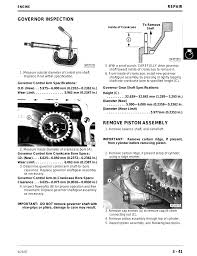 governor inspection remove piston assembly john deere stx38