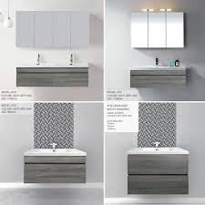 Bathroom Wall Hung Vanities Asti 900mm Light Grey Oak Timber Wood Grain Soft Close Wall Hung