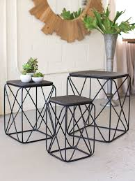 Wire Coffee Table Black Metal Wire Table 3 Set Brickell Collection