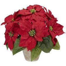 poinsettia with ceramic vase silk flower arrangement walmart com
