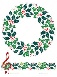 christmas music wreath and seamless border by artyzan graphicriver