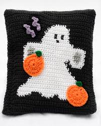 Halloween Ghosts Afghan U0026 Pillow Set Pattern Halloween Haken En