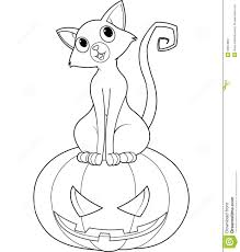 Halloween Pumpkin Coloring Page Halloween Cat On Pumpkin Coloring Page Royalty Free Stock Image