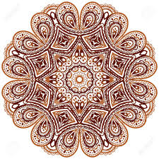 Indian Style - ornate ethnic henna colors vector mandala in indian style royalty
