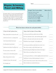 rhyme schemes frost and millay worksheets students and
