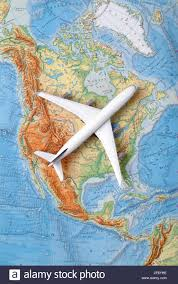 A Map Of The Usa Airplane On A Map Of The Usa North America Canada Stock Photo