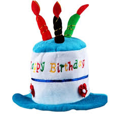 birthday hat blue cake 3 candles kids birthday hat plush party hat