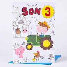 3rd birthday card son tractor only 1 49