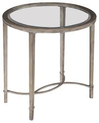 Silver Accent Table Magnussen Copia End Table In Antique Silver Transitional Side