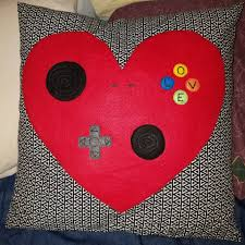 heart shaped game controller pillow home sweet home