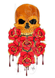 skull and roses coloured by dfmurcia on deviantart