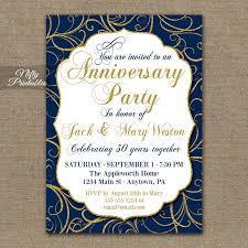 customized invitations blue gold anniversary invitations printable navy blue