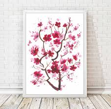 cherry blossom home decor cherry blossom watercolor print japanese abstract painting
