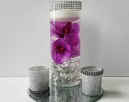 wedding centerpiece floating candle centerpiece purple