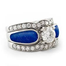 Alternative Wedding Rings by Gorgeous Blue Lapis Lazuli Engagement Ring With Two Diamond Bands