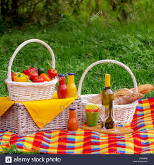 Wine Picnic Basket Picnic On The Grass Picnic Basket With Vegetables And Bread A