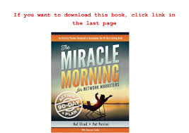The Miracle Book Pdf Free Pdf The Miracle Morning For Network Marketers 90 Day Plan
