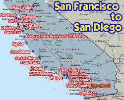 san francisco map detailed coastal california from san francisco to san diego disneyland