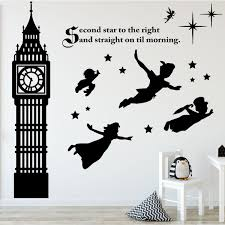 amazon com peter pan decor disney wall decals vinyl art amazon com peter pan decor disney wall decals vinyl art stickers for kids room playroom boys room girls room second star to the right with