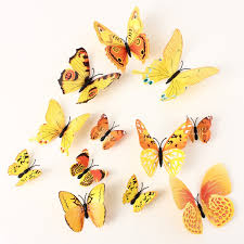 pcs yellow butterfly wall stickers art decals home wedding pcs yellow butterfly wall stickers art decals home wedding party decoration