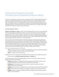North Carolina Road Map Executive Summary For The 2016 Innovate Carolina Roadmap Progress
