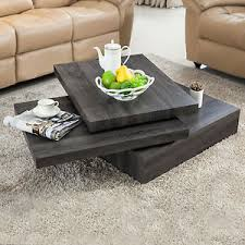 oak livingroom furniture modern black oak square rotating wood coffee table with 3 layers
