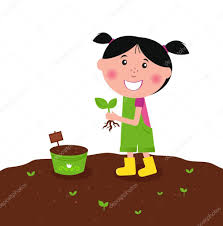 happy kid is planting small plants on farm u2014 stock vector