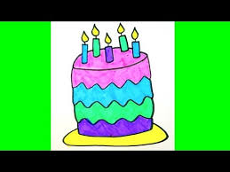 A Birthday Cake How To Draw A Birthday Cake For Kids Youtube