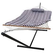 sundale outdoor stripe cotton hammock with 12 feet steel