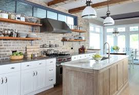 white painted brick kitchen backsplash transitional kitchen fanabis