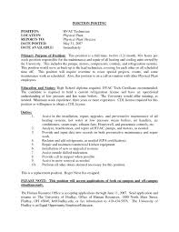Resume Objectives Examples by 28 Hvac Resume Objective Examples Hvac Resume Samples