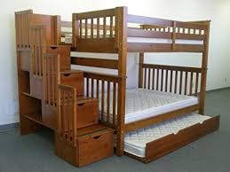 Stairs For Bunk Bed Amazon Com Bedz King Full Over Full Stairway Bunk Bed With Twin