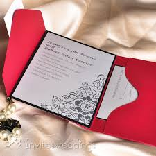 Red And Black Wedding Invitations Black And White Floral Red Pocket Wedding Invitations Iwps056