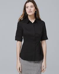 black and white blouse tops shirts whbm