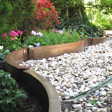 creative idea backyard design with metalic garden edging for