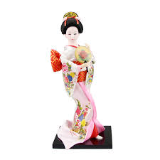 japanese geisha in white kimono with brown fan figurines