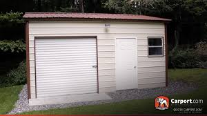 Garage With Workshop 16 U0027 X 21 U0027 Vertical Style Metal Garage With Roll Up Door