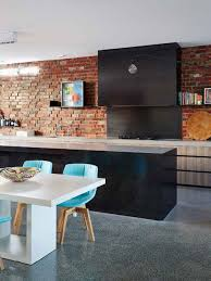 modern black and white kitchen interior set with fluorescent