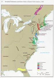 East Coast Map Usa by European Settlements And Native Tribes In Eastern North America In