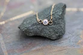 Small Tiny Delicate Gold Necklace Dainty Necklace Small Tiny Bezel Set