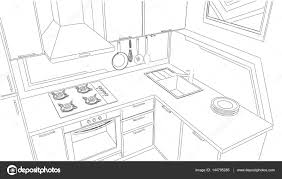 modern corner kitchen interior sketch outline 3d illustration