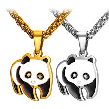 stainless steel necklace pendants images Panda stainless steel necklaces pendants yellow gold plated jpg