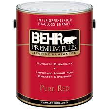 behr premium plus 1 gal pure red hi gloss enamel interior
