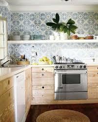 Cement Tile Backsplash by Gorgeous Patterned Tile Backsplash With Bracketed Wood Open