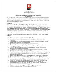 Marketing Coordinator Resume Sample by Marketing Coordinator Job Description Fsr Admin Raiser U0027s Edge
